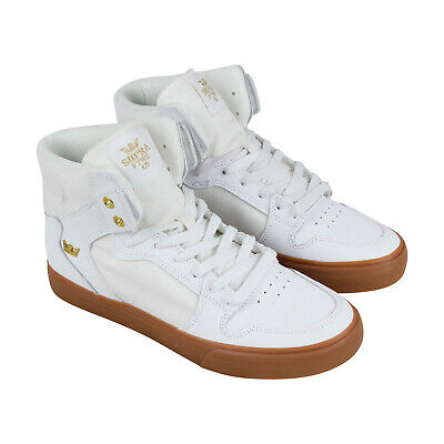 Supra Vaider 08044-176-M Mens White Canvas High Top Athletic Surf Skate Shoes