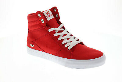 Supra Aluminum 05662-622-M Mens Red Canvas High Top Athletic Surf Skate Shoes