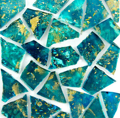 50 pieces TEAL with METALLIC GOLD Mosaic Glitter Glass Tiles by Makena Tile