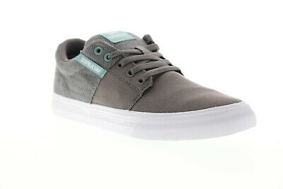 Supra Stacks II Vulc 08194-063-M Mens Gray Canvas Lace Up Athletic Skate Shoes