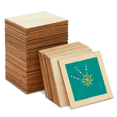 60-Pack Unfinished Wood Pieces Wooden Squares Cutout Tiles for DIY 3 x 3 inch