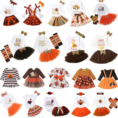 US Baby Girls Thanksgiving Clothes Set ShortLong Sleeve Tops-Tutu Skirt Outfits