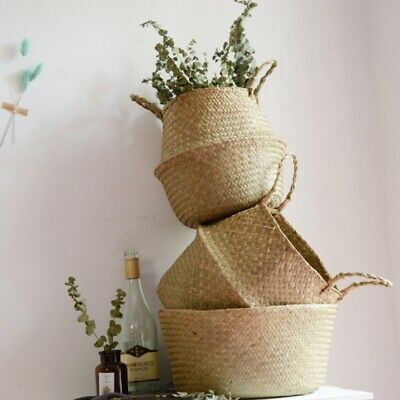 Woven Pot Belly Basket Seagrass Home Clothes Storage Flower Baskets Home Decor