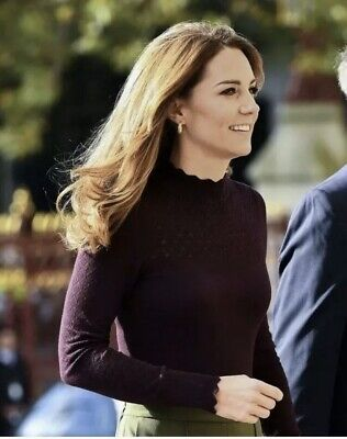 Warehouse Pointelle High Neck Black Jumper UK12 As Worn By Kate Middleton