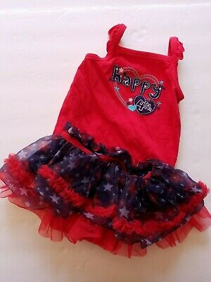 2 Pc 4th Of July Outfit Set Bodysuit Tutu Skirt Patriotic Size 6 Months