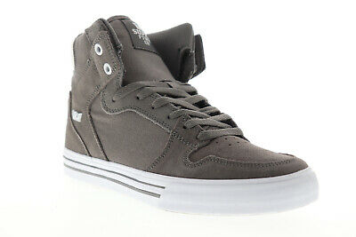 Supra Vaider 08044-087-M Mens Gray Suede Lace Up High Top Sneakers Shoes