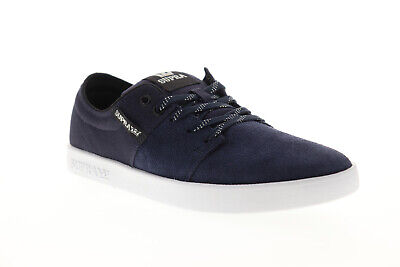Supra Stacks II 08183-472-M Mens Blue Suede Lace Up Athletic Skate Shoes