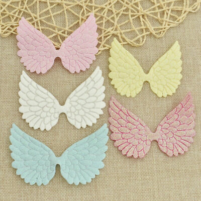 10X Glitter Fabric Angel Wings Artificial Leather Appliques DIY Craft Decor US