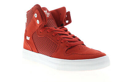 Supra Vaider 08206-659-M Mens Red Suede Lace Up High Top Sneakers Shoes