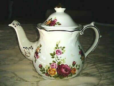 Kensington Potteries Teapot Rose Floral Made in England 4313