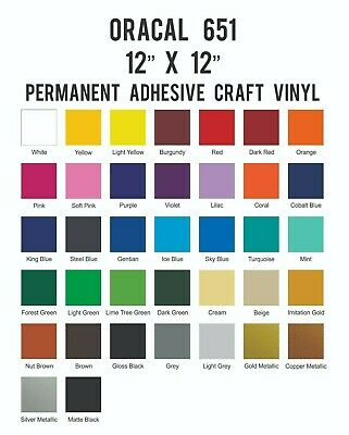 Oracal 651 Adhesive Vinyl Sheet 12 x 12 Craft Outdoor for Cricut Silhouette