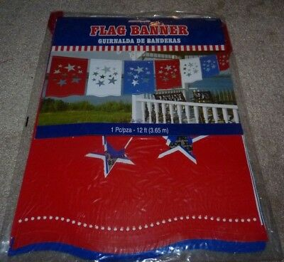 NEW 12 FT Flag Banner Red White Blue 4th Fourth of July Holiday Graduation Star