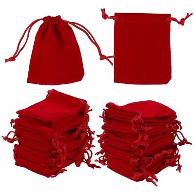 50 Pcs Jewelry Pouch Drawstring Bags Red Velvet Cloth Storage Pouch for Jewelry