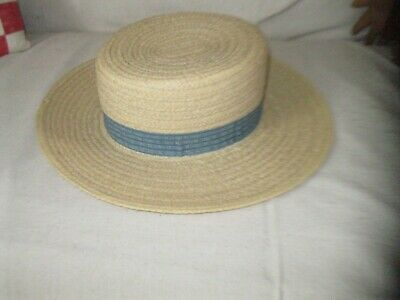 ANTIQUE STRAW HAT WITH BLUE CALICO BAND primitive pegrack