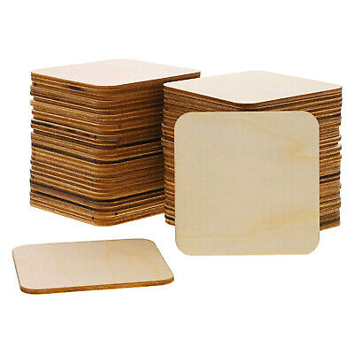 Bright Creations 60-Pack Unfinished Wood Square Cutout Pieces for DIY 3 Inches
