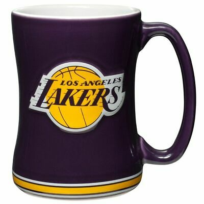 NBA LOS ANGELES LAKERS COFFEE CUP 15 OZ SCULPTED RELIEF MUG NEW