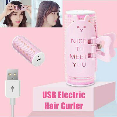 USB Electric Hair Roller Bangs Curling Wand ShortLong Hair Styling Heated Curler