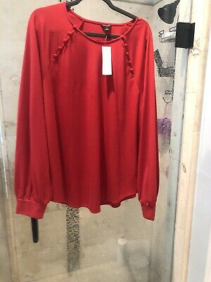 New Nwt Gorgeous ANN TAYLOR Red  Blouse Top Shirt SIZE XXL
