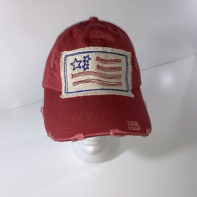 Red Patriotic Artistic American Flag Fourth of July Hat