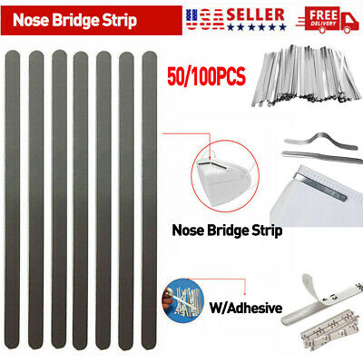 100PCS Aluminum Nose Bridge Strip WAdhesive Face Mask DIY Making Accessories US