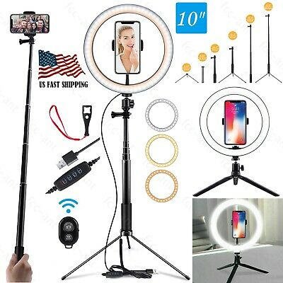 10 LED Ring Light Lamp Phone Selfie Camera Studio Video Dimmable Tripod Stand