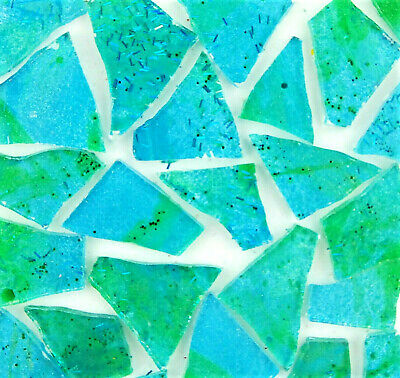 50 pieces of Metallic BLUE and GREEN Mosaic Art Glass Tiles by Makena Tile