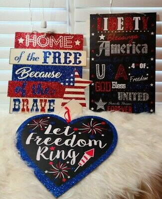 USA Patriotic Red White - Blue FOURTH OF JULY Decor Bundle
