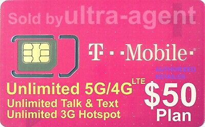 T-Mobile SIM Card with Prepaid 50 Plan Unlimited 4G LTE  1 Month
