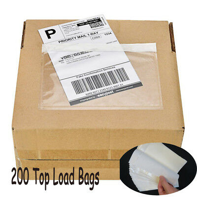 200 7-5x 5-5 Clear Adhesive Top Loading Packing List Invoice Envelopes Pouches
