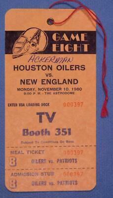 1980 Houston Oilers vs New England Patriots TV Booth Pass  B8S1