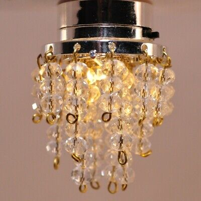 Dollhouse LED Ceiling Light Crystal Beads 112 Scale Dollhouse Battery Operate
