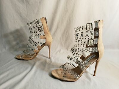 Steve Madden Womens Strappy Embellished Moto Sandal MC7 Clear Size 8M