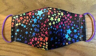 Adult Black Rainbow Stars Face Mask Cover Cotton Newhomemade