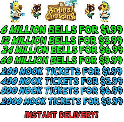 Animal CrossingNew Horizons Bells Nook Miles Tickets Fish Bait Fast Delivery
