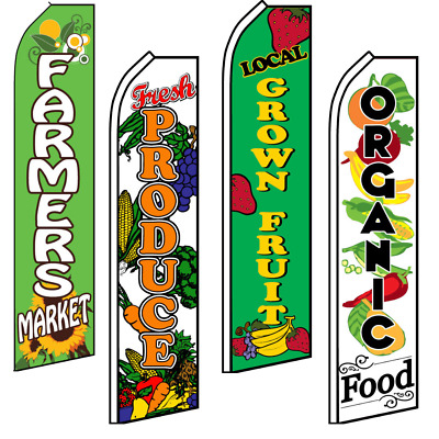 Fresh Produce Advertising Swooper Flutter Feather Flag Organic Local Grown