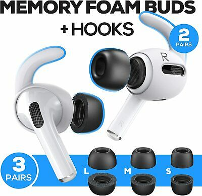 Black Memory Foam Covers Tips AND Ear Hooks for AirPods Pro Size SML - 4 Hooks
