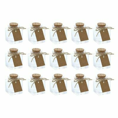 15-Pack Mini Clear Glass Bottles with Cork Lids for DIY - Art Craft 1-7-Ounce
