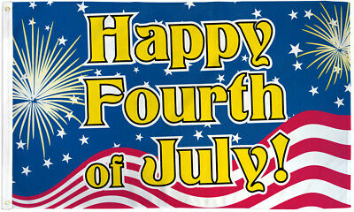 Happy Fourth of July Flag 3x5 Independence Day USA Patritoic Fireworks