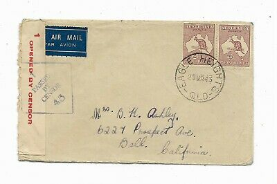 1943 Australia to Bell California Censor Stamp Cover