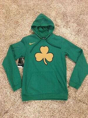 70 Nike NBA City Edition Boston Celtics Hoodie Sweatshirt Mens Clover Irish