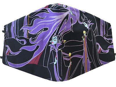 Disney Maleficent Halloween Face Mask Reversible HANDMADE IN USA FREE SHIPPING