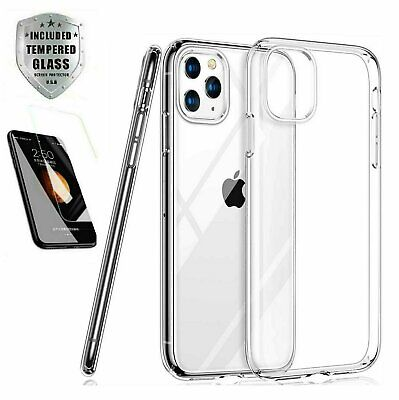 Case - Screen Protector iPhone 12 11 Pro Max XR Case 6 7 8 Plus XS X SE Clear