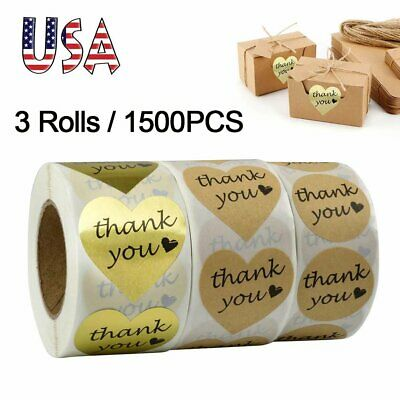 1500 Thank You Stickers Gold Foil Kraft Paper Heart Shape Labels Card Gift Decor