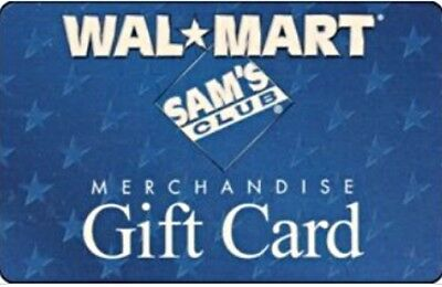 Walmart or Sams Club  Gift Card VALUE 50  - Unscratched- NEW