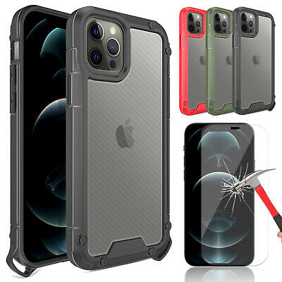 For iPhone 1212 Pro Max Shockproof Clear Case - Tempered Glass Screen Protector