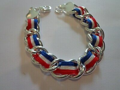 FOURTH OF JULY RED WHITE BLUE USA BRACELET