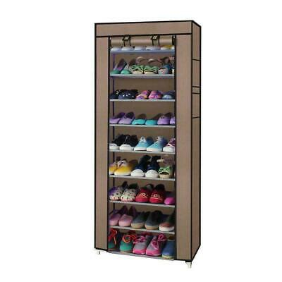 10 Layer 9 Shelf Shoes Cabinet Storage Organizer Shoe Rack Dustproof Standing