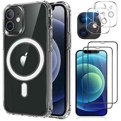 For iPhone 12 Pro Max Magnetic Clear Case-Tempered Glass-Camera Lens Protector