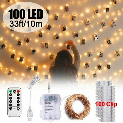 100 LED Photo Clips String Lights Hanging Picture Remote Fairy Lamp Xmas Decor