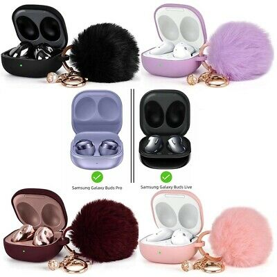 For Galaxy Buds Live  Buds Pro Cute Silicone Case Cover with Pompom Keychain